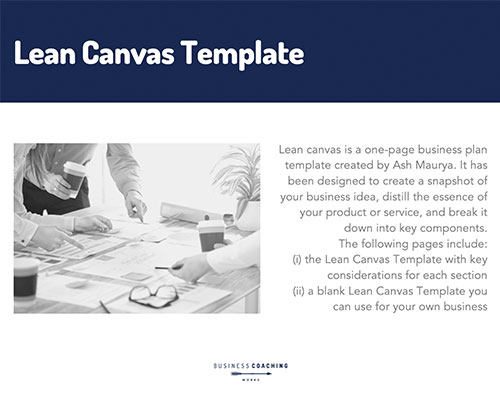Business Coach Lean Canvas Template