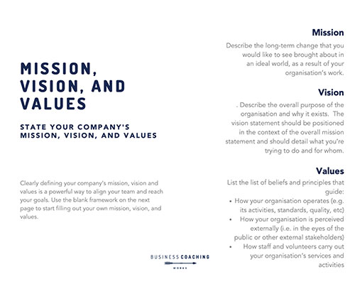Vision Mission and Values template